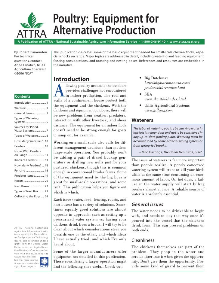 Poultry: Equipment for  ATTRA Alternative Production    A Publication of ATTRA - National Sustainable Agriculture Informat...