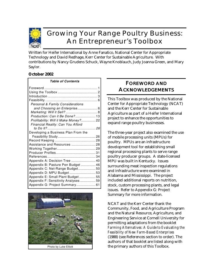 Growing Your Range Poultry Business:                    An Entrepreneur's ToolboxWritten for Heifer International by Anne ...