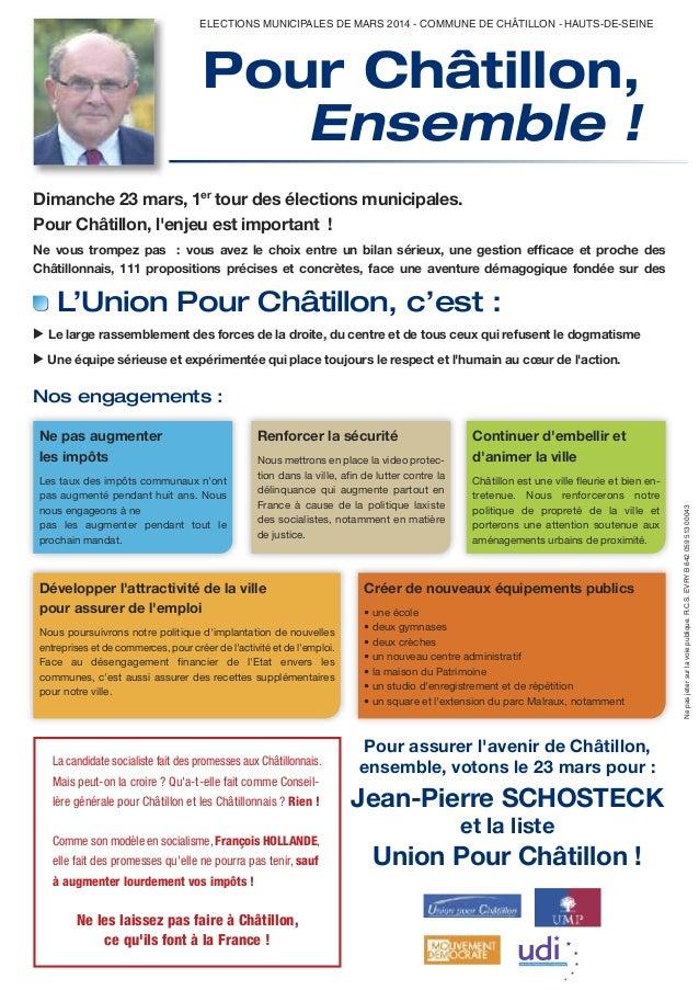 ELECTIONS MUNICIPALES DE MARS 2014 - COMMUNE DE CHÂTILLON - HAUTS-DE-SEINE  Pour Châtillon, Ensemble ! Dimanche 23 mars, 1...