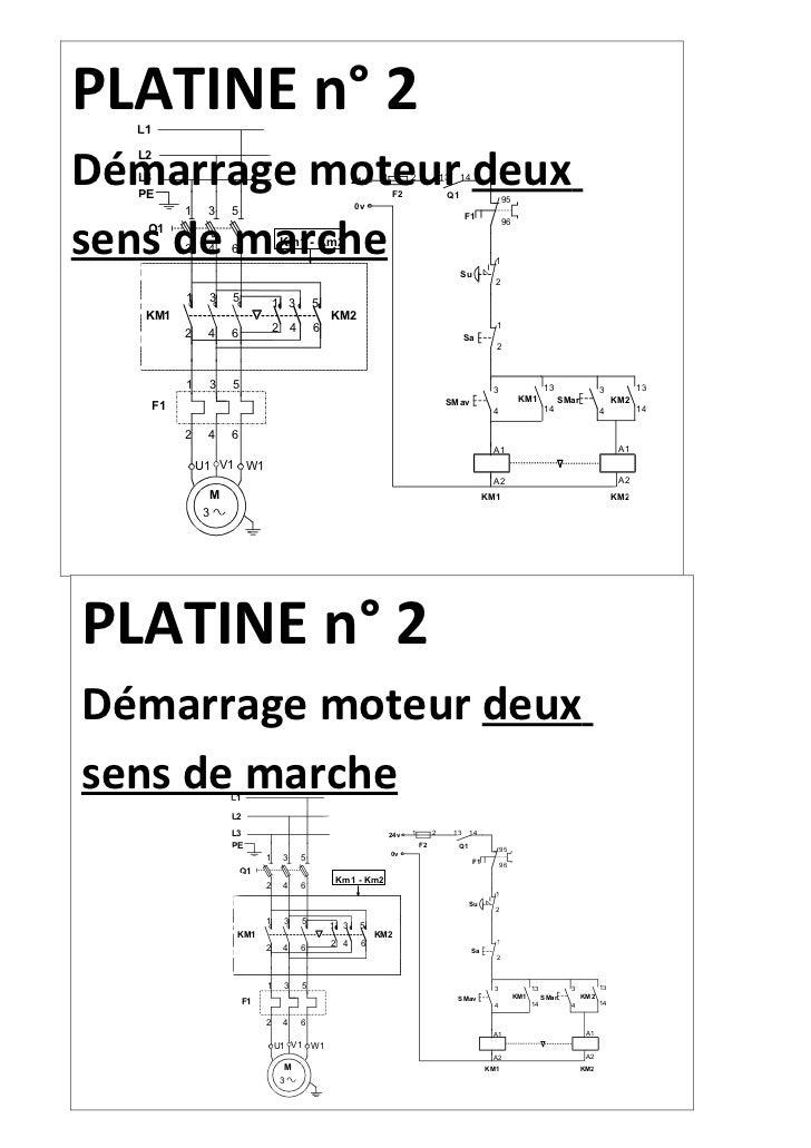 PLATINE n° 2  L1Démarrage moteur deux  L2  L3                                                   24v    1         2        ...