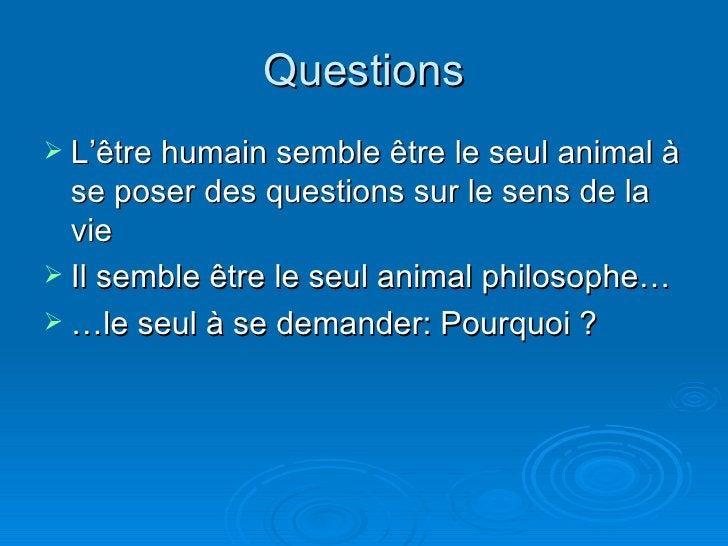 Questions <ul><li>L'être humain semble être le seul animal à se poser des questions sur le sens de la vie </li></ul><ul><l...