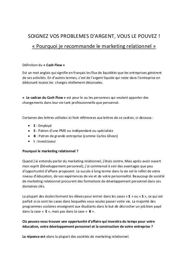 SOIGNEZ VOS PROBLEMES D'ARGENT, VOUS LE POUVEZ !      « Pourquoi je recommande le marketing relationnel »Définition du « C...