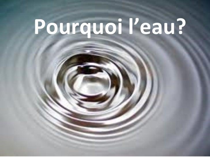 Pourquoi l'eau?