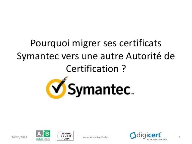 Pourquoi migrer ses certificats Symantec vers une autre Autorité de Certification ? 26/06/2014 www.AliceAndBob.fr 1