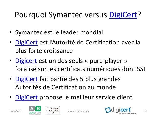 Pourquoi Symantec versus DigiCert? • Symantec est le leader mondial • DigiCert est l'Autorité de Certification avec la plu...