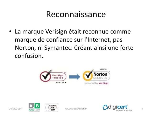 Reconnaissance • La marque Verisign était reconnue comme marque de confiance sur l'Internet, pas Norton, ni Symantec. Créa...