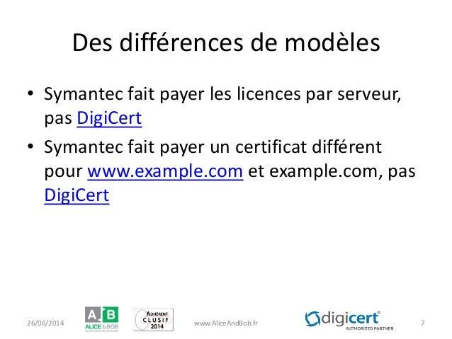 Des différences de modèles • Symantec fait payer les licences par serveur, pas DigiCert • Symantec fait payer un certifica...