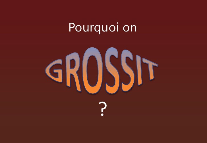 Pourquoi on<br />GROSSIT<br />?<br />