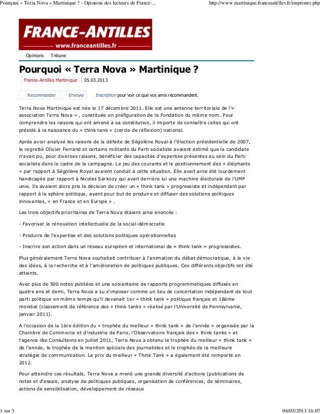 Pourquoi « Terra Nova » Martinique ? - Opinions des lecteurs de France-...                         http://www.martinique.f...