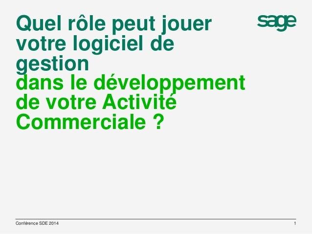 Quel rôle peut jouer votre logiciel de gestion dans le développement de votre Activité Commerciale ?  Conférence SDE 2014 ...