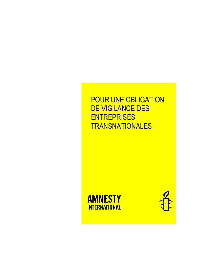 POUR UNE OBLIGATION DE VIGILANCE DES ENTREPRISES TRANSNATIONALES