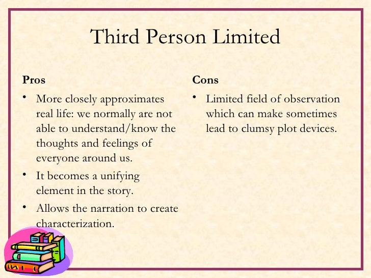 Third Person Limited <ul><li>Pros </li></ul><ul><li>More closely approximates real life: we normally are not able to under...