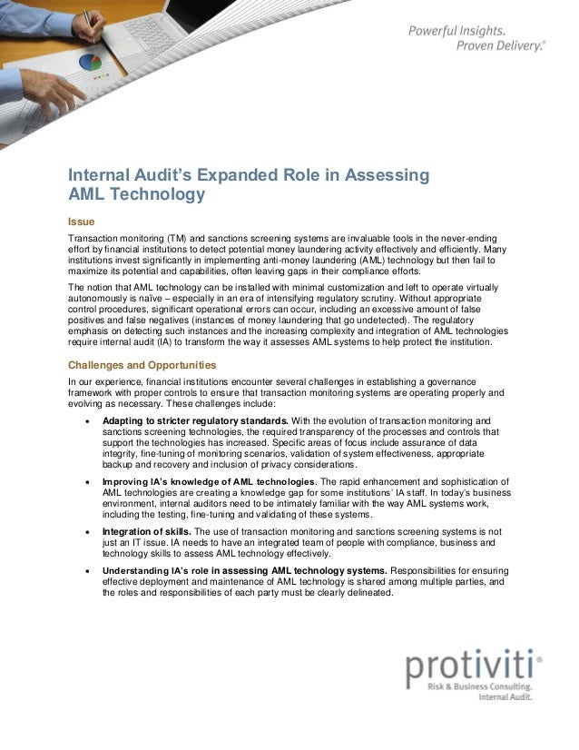 Internal Audit's Expanded Role in Assessing AML Technology Issue Transaction monitoring (TM) and sanctions screening syste...