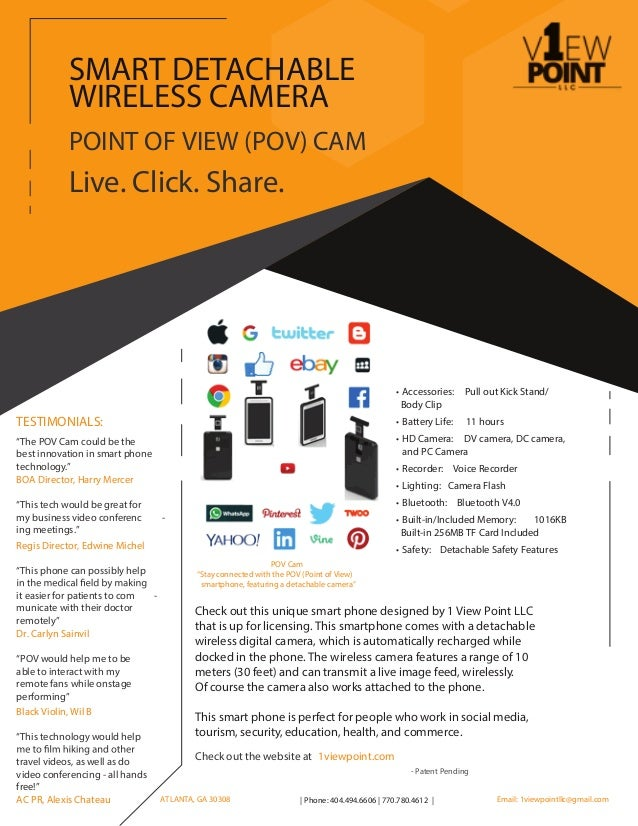 Check out the website at 1viewpoint.com POINT OF VIEW (POV) CAM Live. Click. Share. SMART DETACHABLE WIRELESS CAMERA TESTI...
