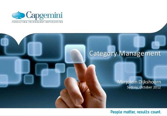 Category Management       Marjolein Dijkshoorn           Sydney, October 2012