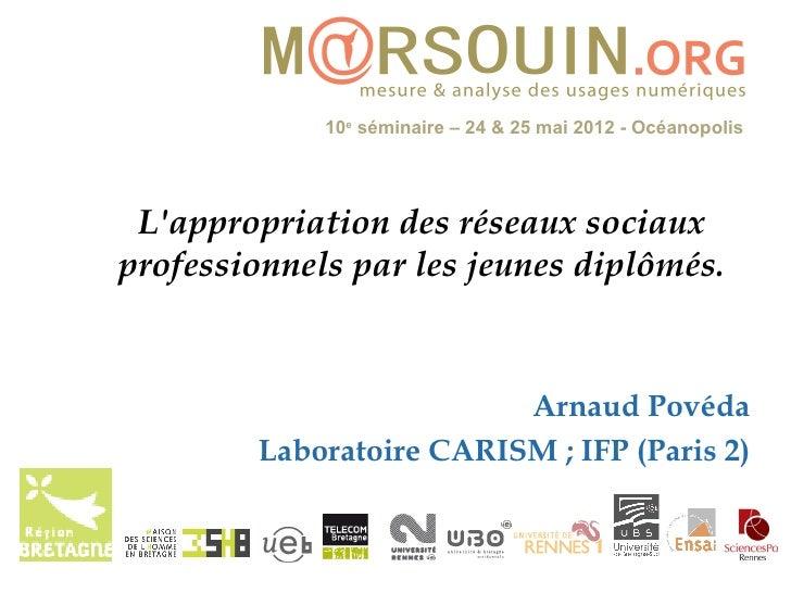 10e séminaire – 24 & 25 mai 2012 - Océanopolis Lappropriation des réseaux sociauxprofessionnels par les jeunes diplômés.  ...