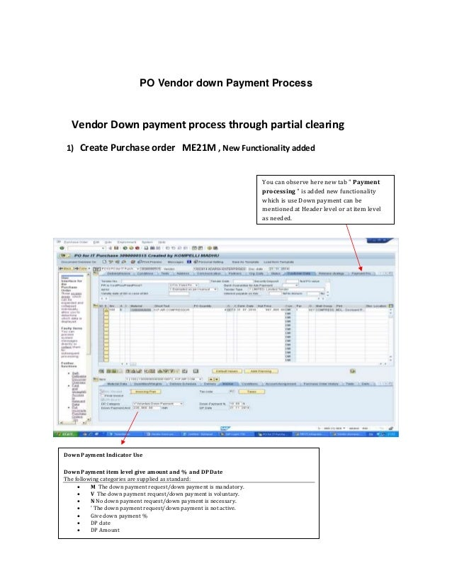 Po vendor down pay process SAP
