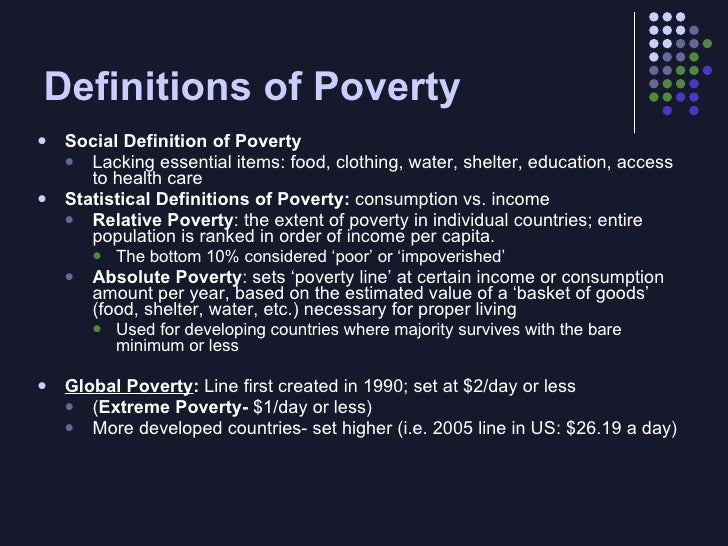 definitions of poverty and development Definitions, terms and concepts: rural and rural development rural: definitions from wikipedia: rural development in general is used to denote the actions and initiatives taken to improve the standard of living in non-urban neighborhoods access to medical services, poverty.