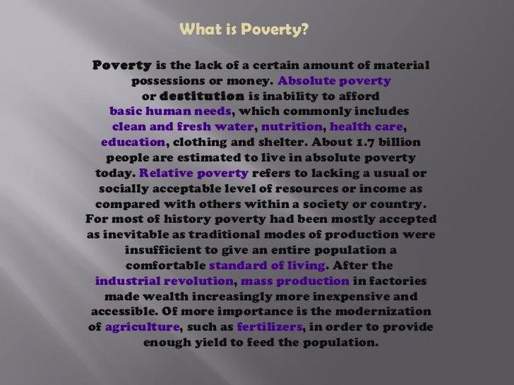 an analysis of poverty dealing with the lack of possessions Economic factors leading to increased crime rate economics essay 411 poverty lack of basic necessities is called poverty possessions.