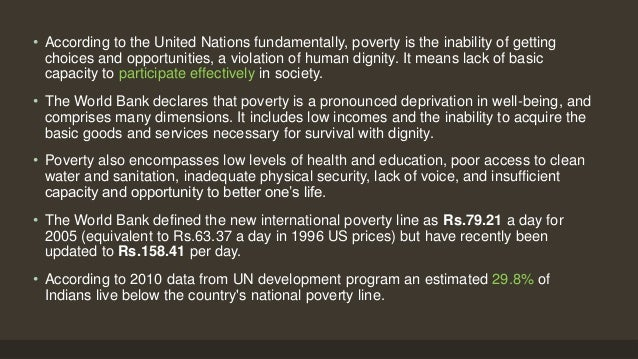 """a description of poverty as the lack of or inability to afford the basic human needs Universal access to sanitation is, """"not only fundamental for human dignity and  most people need at least 2 litres of safe water per capita per day for food preparation  the lack of access to safe drinking water, and the links between the two, in poor  school to avoid urination, thereby becoming dehydrated and unable to."""