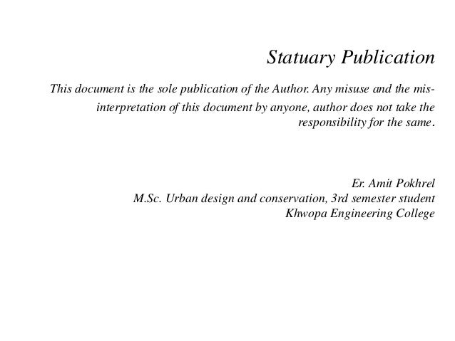 Statuary Publication This document is the sole publication of the Author. Any misuse and the mis- interpretation of this d...