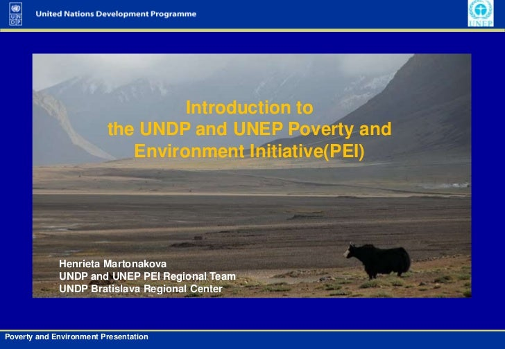 Introduction to <br />the UNDP and UNEP Poverty and <br />Environment Initiative(PEI) <br />Henrieta Martonakova<br />UNDP...