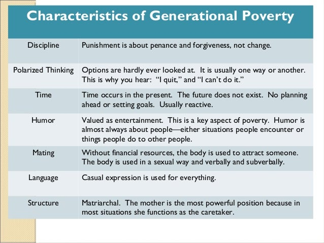 generational poverty Cprc research themes a defining characteristic of chronically poor people is that they remain in poverty over a long period this can mean that poverty is.