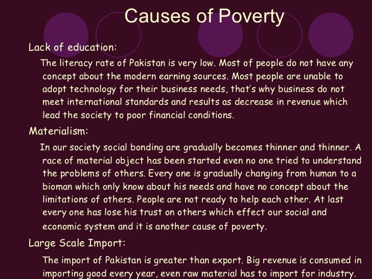 poverty in  causes of poverty