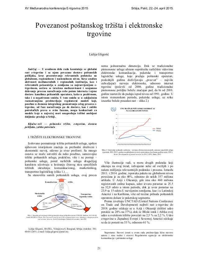 XV Meñunarodna konferencija E-trgovina 2015 Srbija, Palić, 22.-24. april 2015. 21 Sadržaj — U uvodnom delu radu konstatuje...