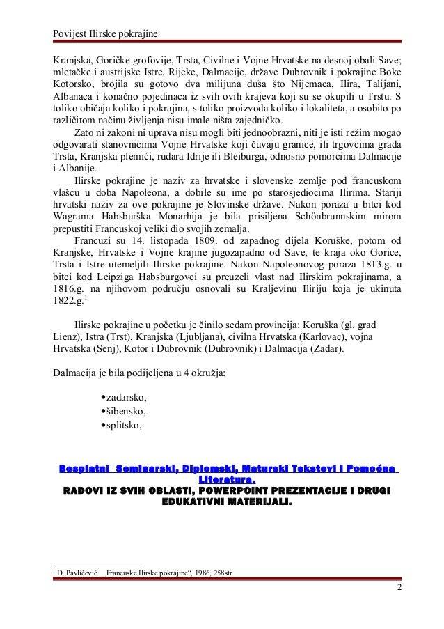 Povijest Ilirske Pokrajine Maturalni Rad