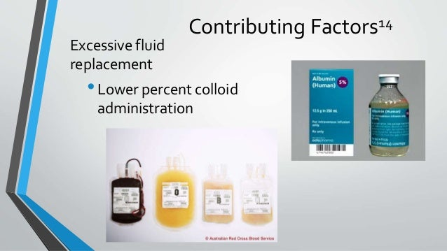 Contributing Factors14 Excessive fluid replacement •Lower percent colloid administration