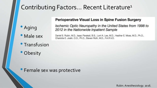 Contributing Factors… Recent Literature1 •Aging •Male sex •Transfusion •Obesity •Female sex was protective Rubin.Anesthesi...