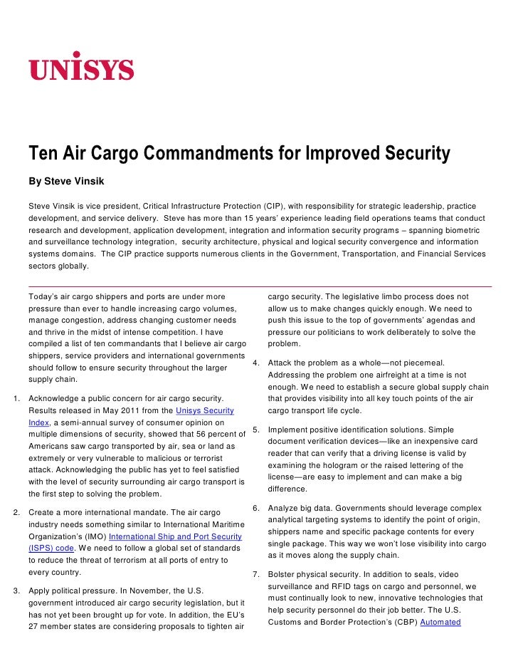 06350<br />Ten Air Cargo Commandments for Improved Security<br />By Steve Vinsik<br />Steve Vinsik is vice president, Crit...