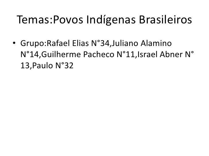 Temas:Povos Indígenas Brasileiros• Grupo:Rafael Elias N°34,Juliano Alamino  N°14,Guilherme Pacheco N°11,Israel Abner N°  1...