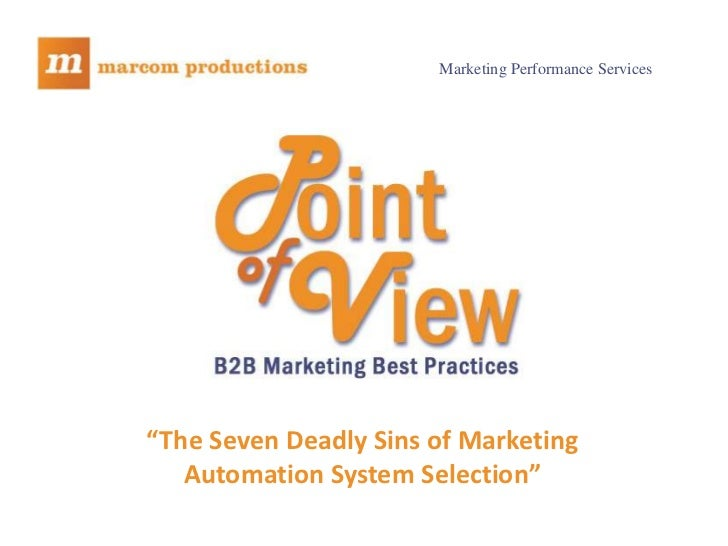 """Marketing Performance Services""""The Seven Deadly Sins of Marketing   Automation System Selection"""""""