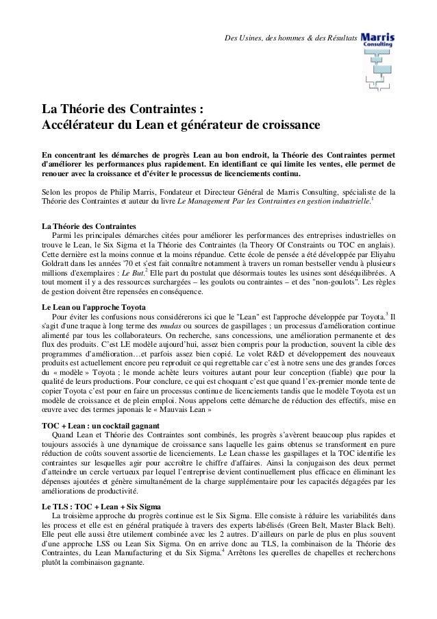Des Usines, des hommes & des Résultats La Théorie des Contraintes : Accélérateur du Lean et générateur de croissance En co...
