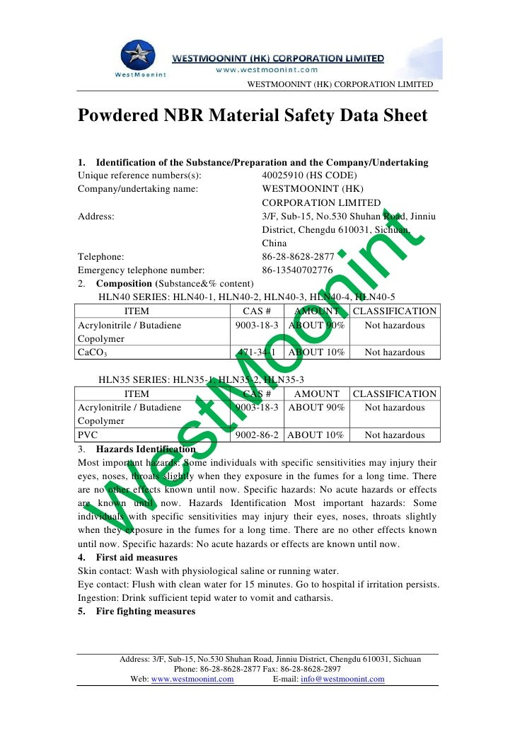 WESTMOONINT (HK) CORPORATION LIMITEDPowdered NBR Material Safety Data Sheet1. Identification of the Substance/Preparation ...