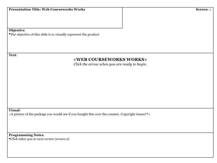 Presentation Title: Web Courseworks Works Screen : 1  <ul><li>Objective </li></ul><ul><li>The objective of this slide is t...