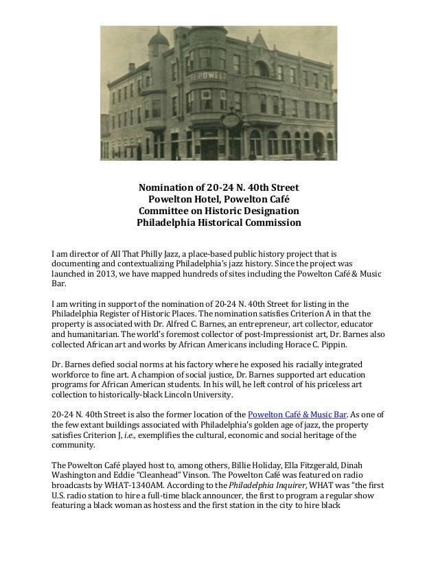 Nomination of 20-24 N. 40th Street Powelton Hotel, Powelton Café Committee on Historic Designation Philadelphia Historical...