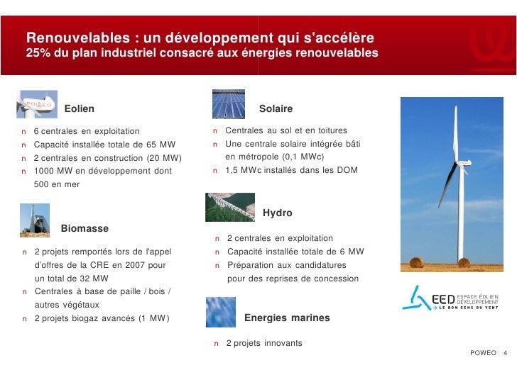 Renouvelables : un développement qui s'accélère  25% du plan industriel consacré aux énergies renouvelables              E...