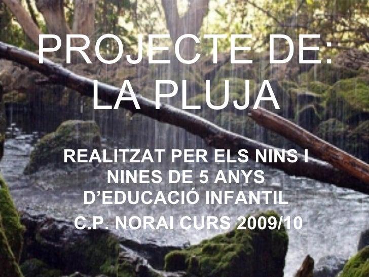PROJECTE DE: LA PLUJA REALITZAT PER ELS NINS I NINES DE 5 ANYS D'EDUCACIÓ INFANTIL C.P. NORAI CURS 2009/10