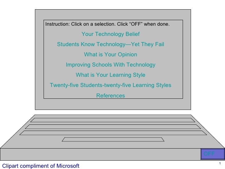 """Instruction: Click on a selection. Click """"OFF"""" when done.                                    Your Technology Belief       ..."""