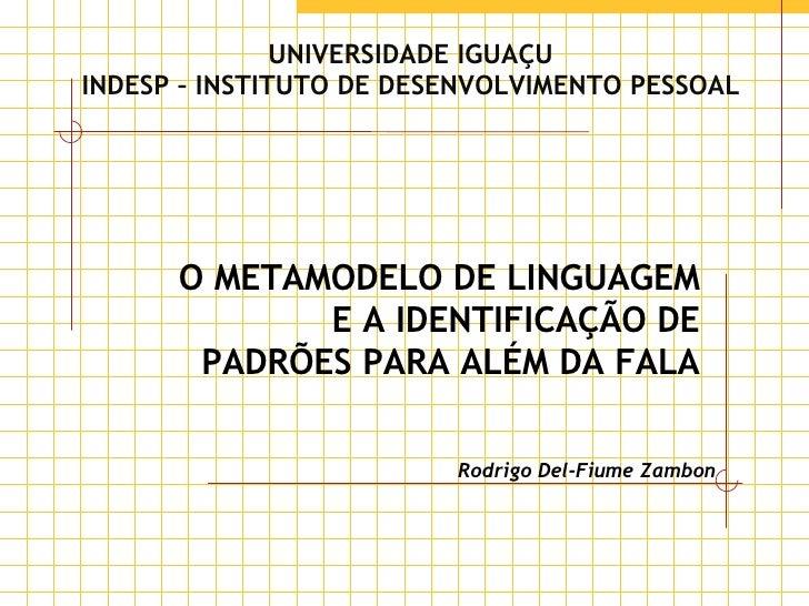 UNIVERSIDADE IGUAÇU INDESP – INSTITUTO DE DESENVOLVIMENTO PESSOAL O METAMODELO DE LINGUAGEM E A IDENTIFICAÇÃO DE PADRÕES P...