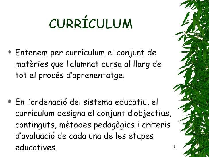 CURRÍCULUM <ul><li>Entenem per currículum el conjunt de matèries que   l'alumnat cursa al llarg de tot el procés d'aprenen...