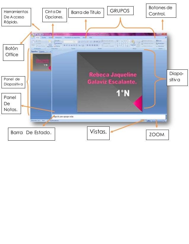 Bb Panel de Diapositiva s. GRUPOSBarra de TituloCinta De Opciones. Herramientas De Acceso Rápido. Botón Office Botones de ...