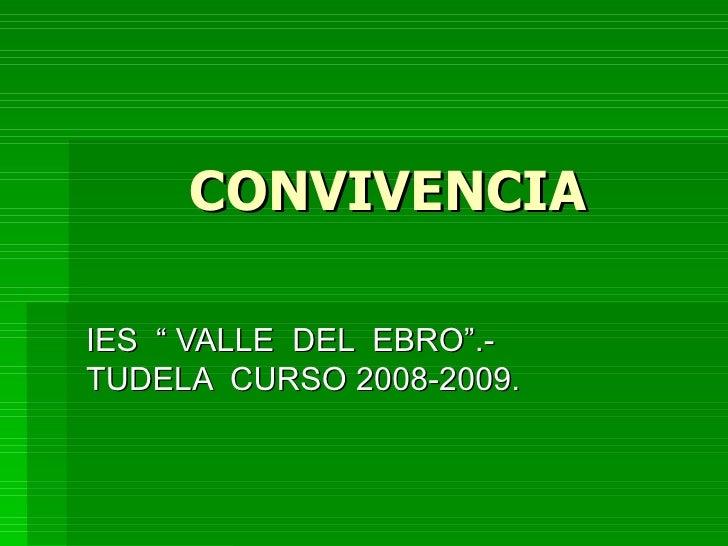 """CONVIVENCIA IES  """" VALLE  DEL  EBRO"""".- TUDELA  CURSO 2008-2009."""