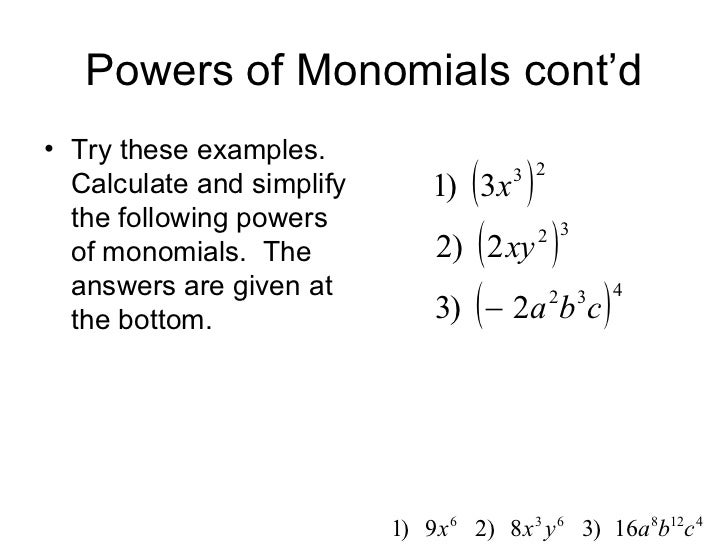 Powers Of Monomials Worksheet Photos Getadating – Monomials Worksheet