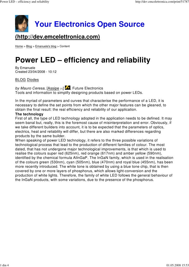 Power LED – efficiency and reliability                                              http://dev.emcelettronica.com/print/51...