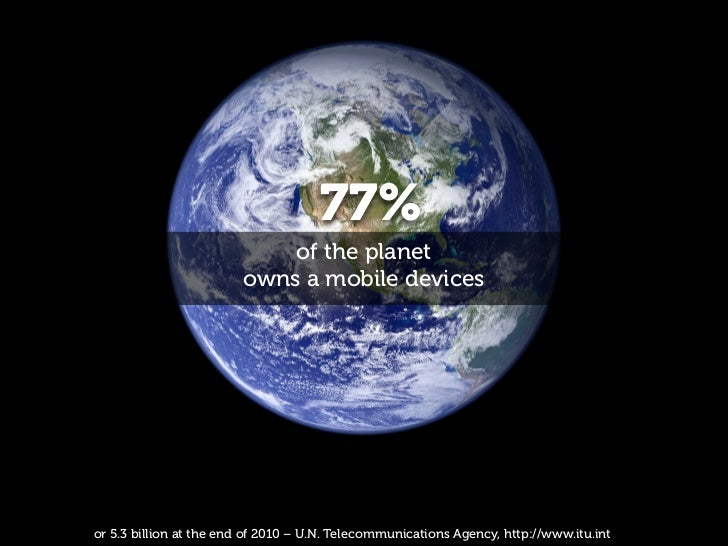 77%                            of the planet                        owns a mobile devicesor 5.3 billion at the end of 2010...