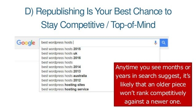 D) Republishing Is Your Best Chance to Stay Competitive / Top-of-Mind Anytime you see months or years in search suggest, i...